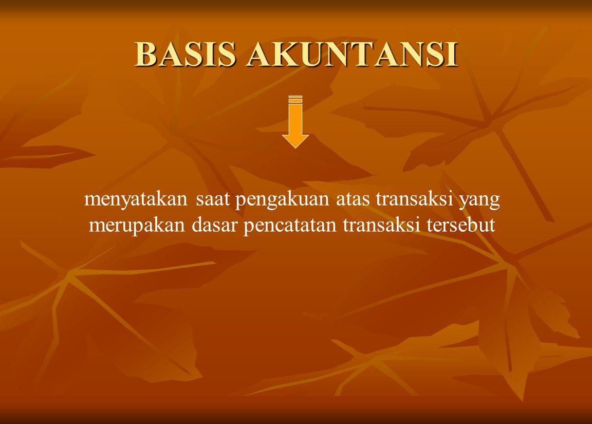 BASIS AKUNTANSI menyatakan saat pengakuan atas transaksi yang merupakan dasar pencatatan transaksi tersebut