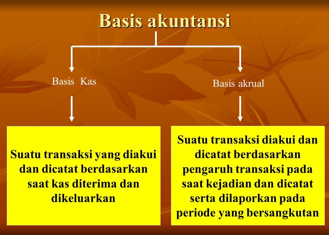 Basis akuntansi Suatu transaksi yang diakui dan dicatat berdasarkan saat kas diterima dan dikeluarkan Basis Kas Basis akrual Suatu transaksi diakui da