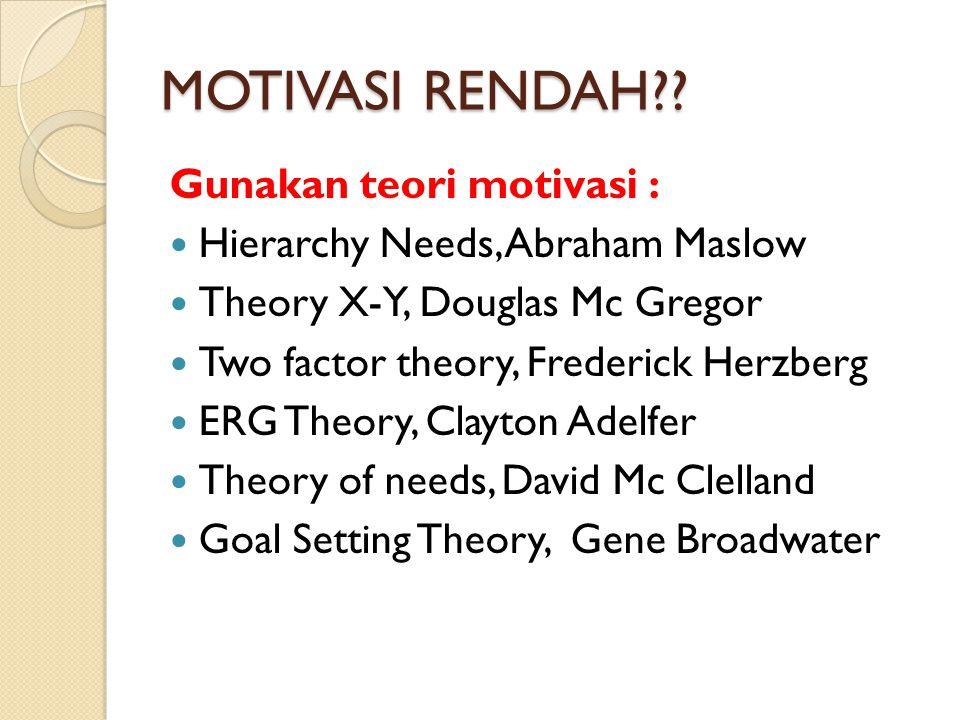 MOTIVASI RENDAH?? Gunakan teori motivasi : Hierarchy Needs, Abraham Maslow Theory X-Y, Douglas Mc Gregor Two factor theory, Frederick Herzberg ERG The