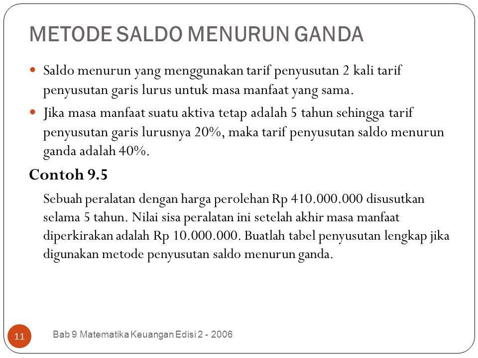 METODE SALDO MENURUN GANDA Bab 9 Matematika Keuangan Edisi 2 - 2006 11 Saldo menurun yang menggunakan tarif penyusutan 2 kali tarif penyusutan garis l