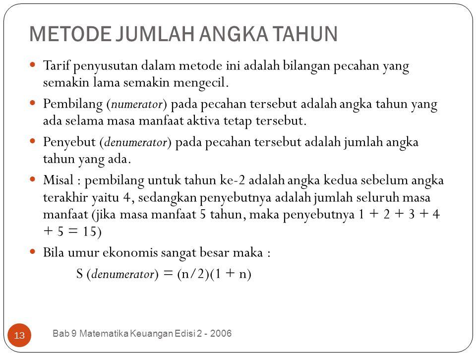METODE JUMLAH ANGKA TAHUN Bab 9 Matematika Keuangan Edisi 2 - 2006 13 Tarif penyusutan dalam metode ini adalah bilangan pecahan yang semakin lama sema