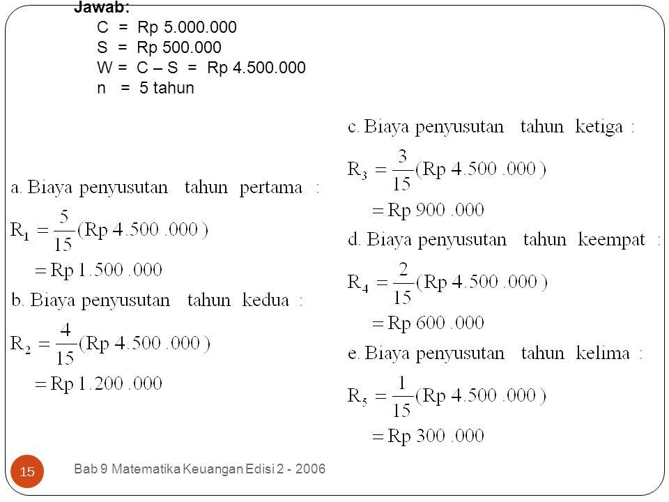 Jawab: C = Rp 5.000.000 S = Rp 500.000 W = C – S = Rp 4.500.000 n = 5 tahun Bab 9 Matematika Keuangan Edisi 2 - 2006 15