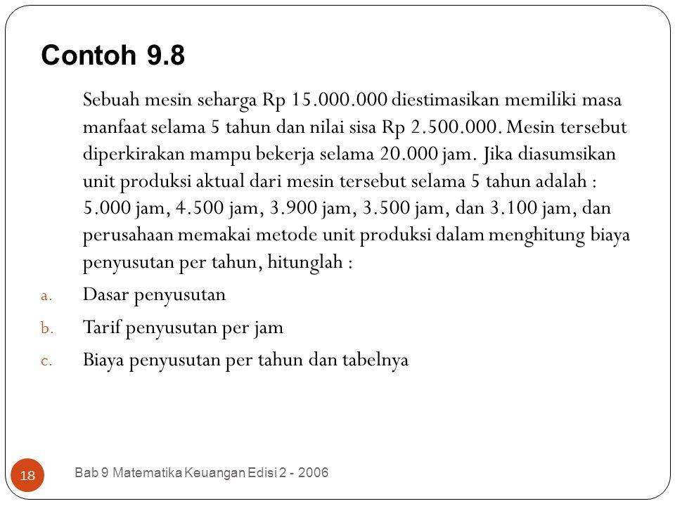 Contoh 9.8 Bab 9 Matematika Keuangan Edisi 2 - 2006 18 Sebuah mesin seharga Rp 15.000.000 diestimasikan memiliki masa manfaat selama 5 tahun dan nilai