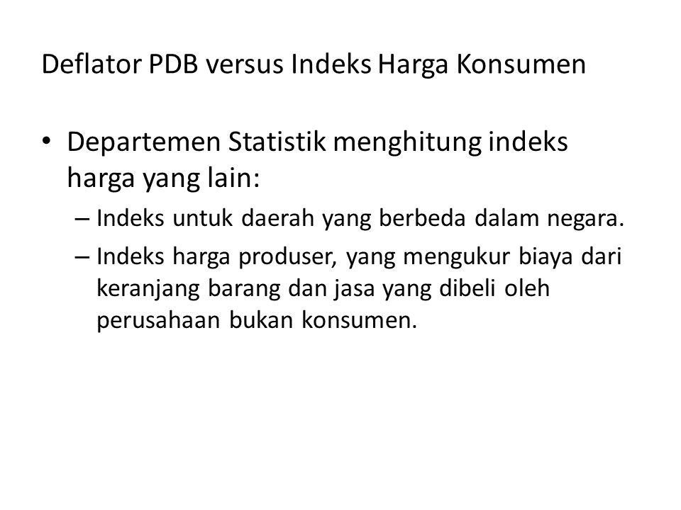 Deflator PDB versus Indeks Harga Konsumen Departemen Statistik menghitung indeks harga yang lain: – Indeks untuk daerah yang berbeda dalam negara. – I