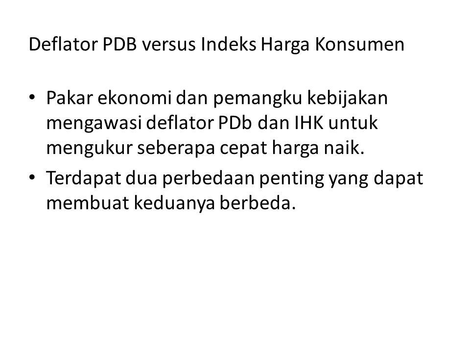 Deflator PDB versus Indeks Harga Konsumen Pakar ekonomi dan pemangku kebijakan mengawasi deflator PDb dan IHK untuk mengukur seberapa cepat harga naik