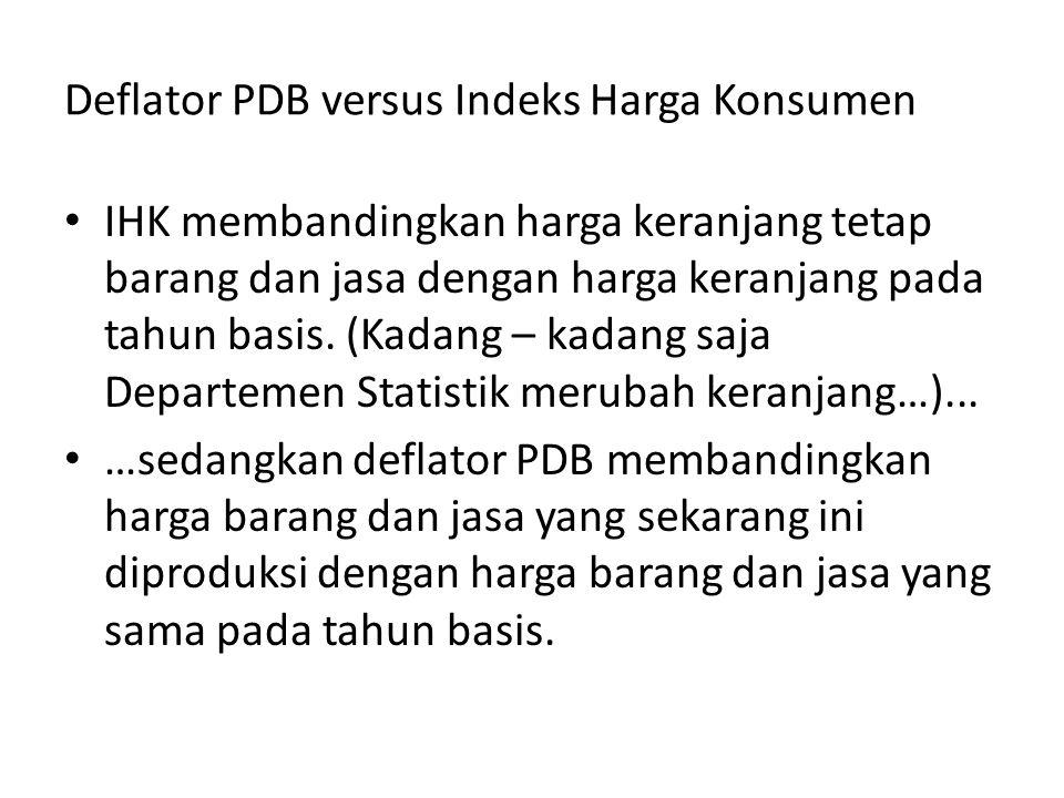 Deflator PDB versus Indeks Harga Konsumen IHK membandingkan harga keranjang tetap barang dan jasa dengan harga keranjang pada tahun basis. (Kadang – k