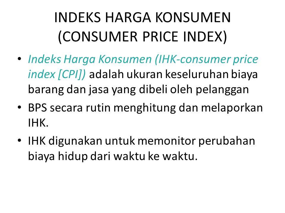 INDEKS HARGA KONSUMEN (CONSUMER PRICE INDEX) Indeks Harga Konsumen (IHK-consumer price index [CPI]) adalah ukuran keseluruhan biaya barang dan jasa ya