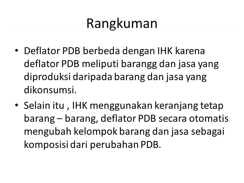 Rangkuman Deflator PDB berbeda dengan IHK karena deflator PDB meliputi barangg dan jasa yang diproduksi daripada barang dan jasa yang dikonsumsi. Sela