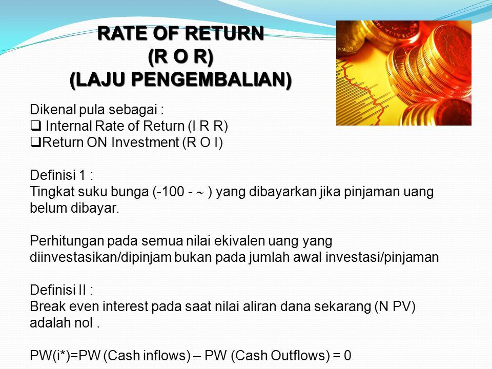 RATE OF RETURN (R O R) (LAJU PENGEMBALIAN) Dikenal pula sebagai :  Internal Rate of Return (I R R)  Return ON Investment (R O I) Definisi 1 : Tingka