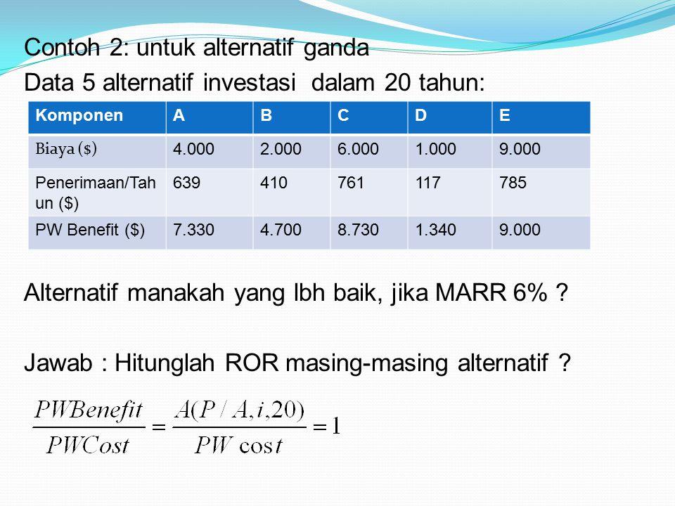 Contoh 2: untuk alternatif ganda Data 5 alternatif investasi dalam 20 tahun: Alternatif manakah yang lbh baik, jika MARR 6% ? Jawab : Hitunglah ROR ma