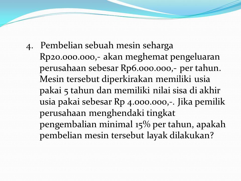 4. Pembelian sebuah mesin seharga Rp20.000.000,- akan meghemat pengeluaran perusahaan sebesar Rp6.000.000,- per tahun. Mesin tersebut diperkirakan mem