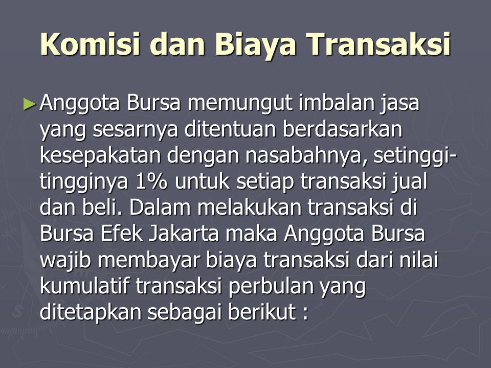 Komisi dan Biaya Transaksi ► Anggota Bursa memungut imbalan jasa yang sesarnya ditentuan berdasarkan kesepakatan dengan nasabahnya, setinggi- tingginy