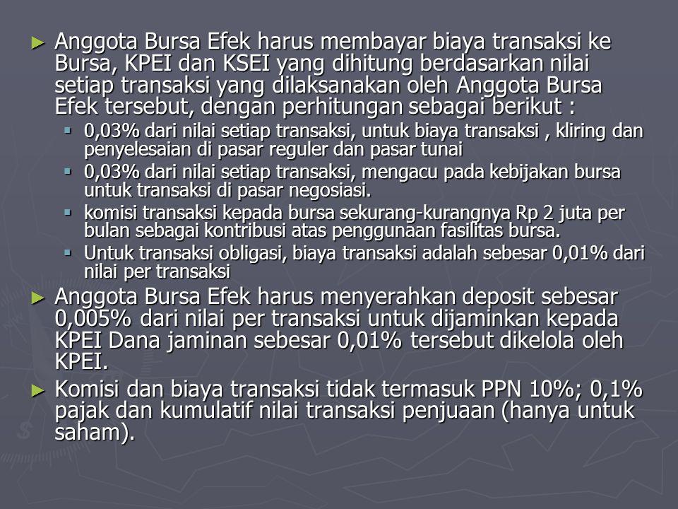 ► Anggota Bursa Efek harus membayar biaya transaksi ke Bursa, KPEI dan KSEI yang dihitung berdasarkan nilai setiap transaksi yang dilaksanakan oleh An