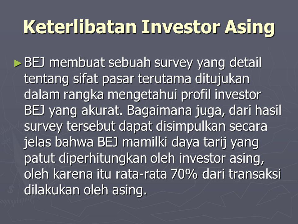 Keterlibatan Investor Asing ► BEJ membuat sebuah survey yang detail tentang sifat pasar terutama ditujukan dalam rangka mengetahui profil investor BEJ