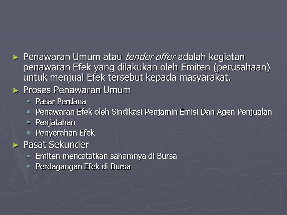 ► Penawaran Umum atau tender offer adalah kegiatan penawaran Efek yang dilakukan oleh Emiten (perusahaan) untuk menjual Efek tersebut kepada masyaraka