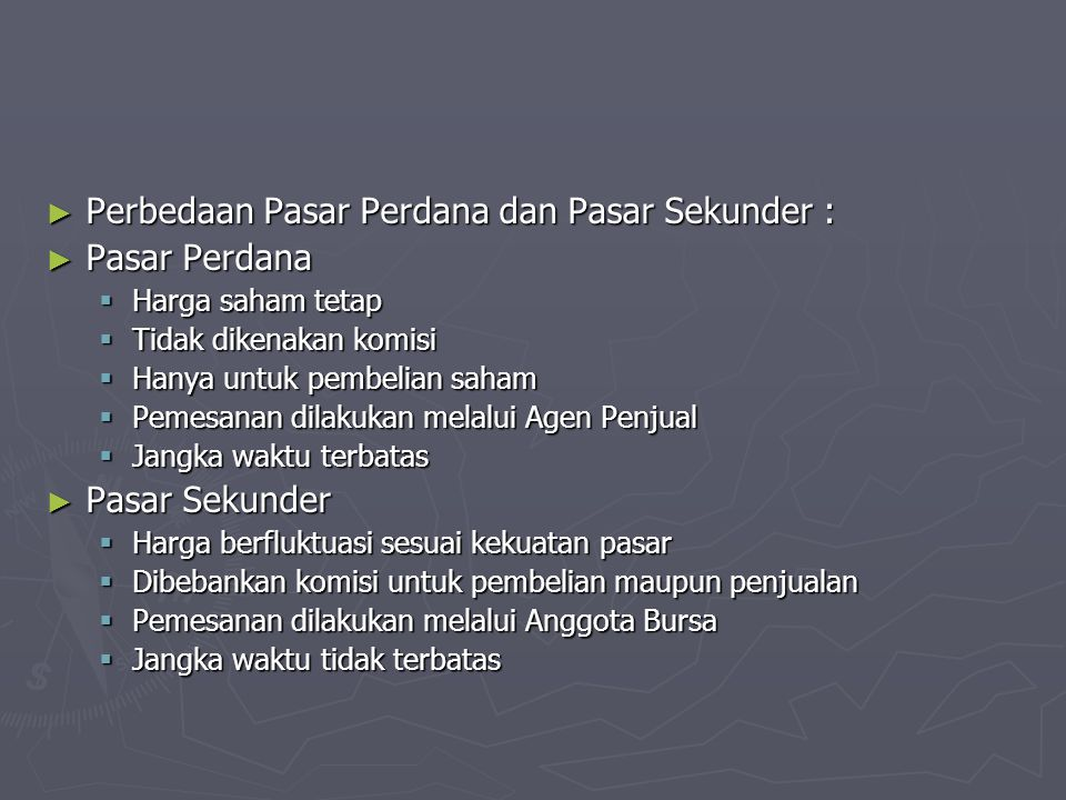 Perdagangan di BEJ ► Sistem perdagangan di BEJ menggunakan sistem komputerisasi yang dikenal dengan nama JATS (Jakarta Automated Trading System) dalam menciptakan perdagangan yang fair, transparan, efisien dan pasar yang efektif bagi para investor.
