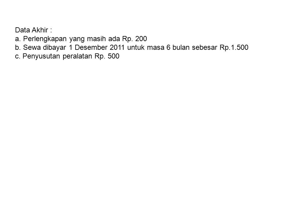 Data Akhir : a. Perlengkapan yang masih ada Rp. 200 b. Sewa dibayar 1 Desember 2011 untuk masa 6 bulan sebesar Rp.1.500 c. Penyusutan peralatan Rp. 50