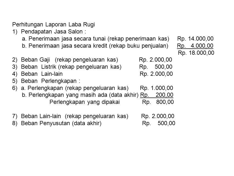 Perhitungan Laporan Laba Rugi 1)Pendapatan Jasa Salon : a. Penerimaan jasa secara tunai (rekap penerimaan kas) Rp. 14.000,00 b. Penerimaan jasa secara