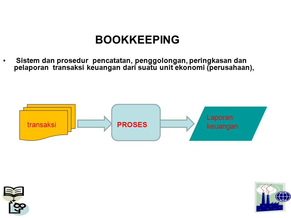 BOOKKEEPING Sistem dan prosedur pencatatan, penggolongan, peringkasan dan pelaporan transaksi keuangan dari suatu unit ekonomi (perusahaan), PROSES La
