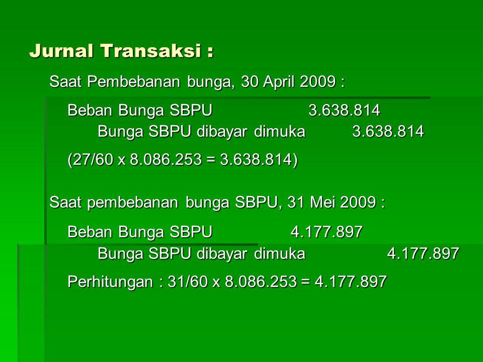 Jurnal Transaksi : Saat Pembebanan bunga, 30 April 2009 : Beban Bunga SBPU 3.638.814 Bunga SBPU dibayar dimuka 3.638.814 (27/60 x 8.086.253 = 3.638.814) Saat pembebanan bunga SBPU, 31 Mei 2009 : Beban Bunga SBPU 4.177.897 Bunga SBPU dibayar dimuka 4.177.897 Perhitungan : 31/60 x 8.086.253 = 4.177.897