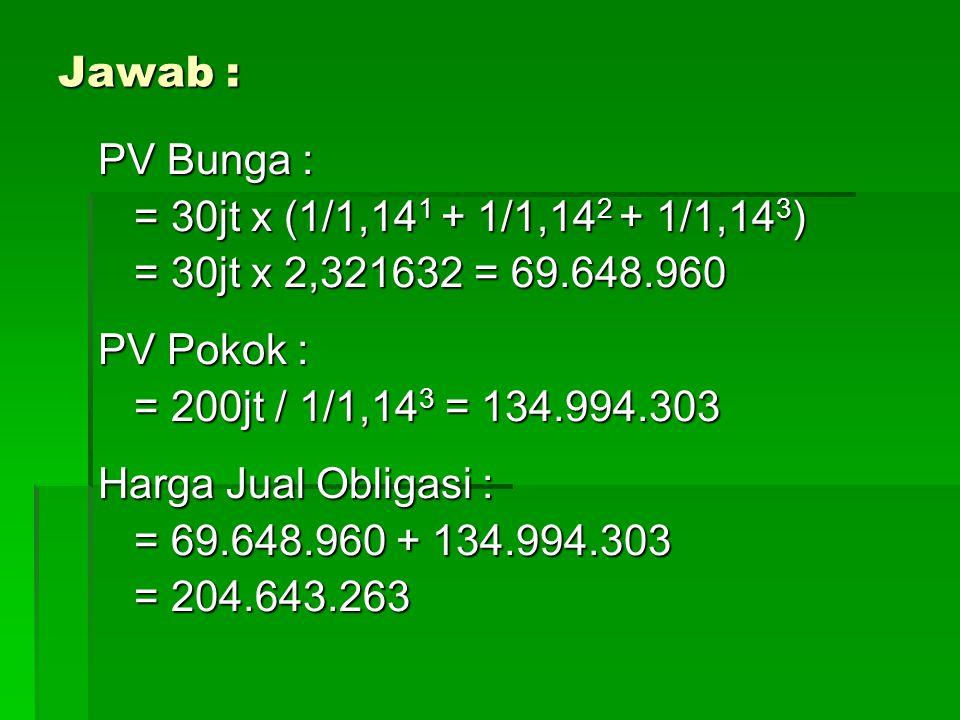 Jawab : PV Bunga : = 30jt x (1/1,14 1 + 1/1,14 2 + 1/1,14 3 ) = 30jt x 2,321632 = 69.648.960 PV Pokok : = 200jt / 1/1,14 3 = 134.994.303 Harga Jual Obligasi : = 69.648.960 + 134.994.303 = 204.643.263