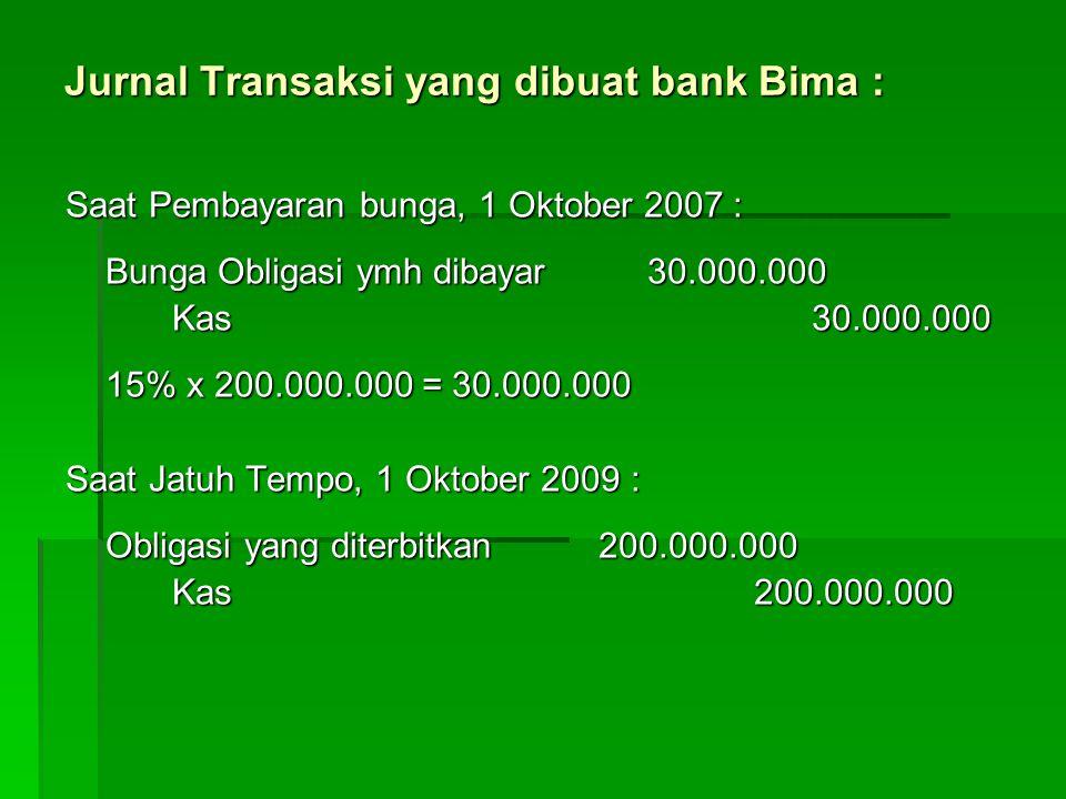 Jurnal Transaksi yang dibuat bank Bima : Saat Pembayaran bunga, 1 Oktober 2007 : Bunga Obligasi ymh dibayar 30.000.000 Kas30.000.000 15% x 200.000.000 = 30.000.000 Saat Jatuh Tempo, 1 Oktober 2009 : Obligasi yang diterbitkan200.000.000 Kas 200.000.000