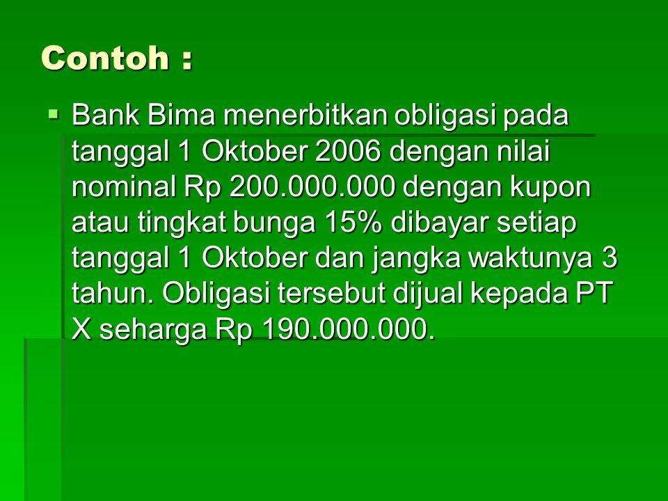 Contoh :  Bank Bima menerbitkan obligasi pada tanggal 1 Oktober 2006 dengan nilai nominal Rp 200.000.000 dengan kupon atau tingkat bunga 15% dibayar setiap tanggal 1 Oktober dan jangka waktunya 3 tahun.
