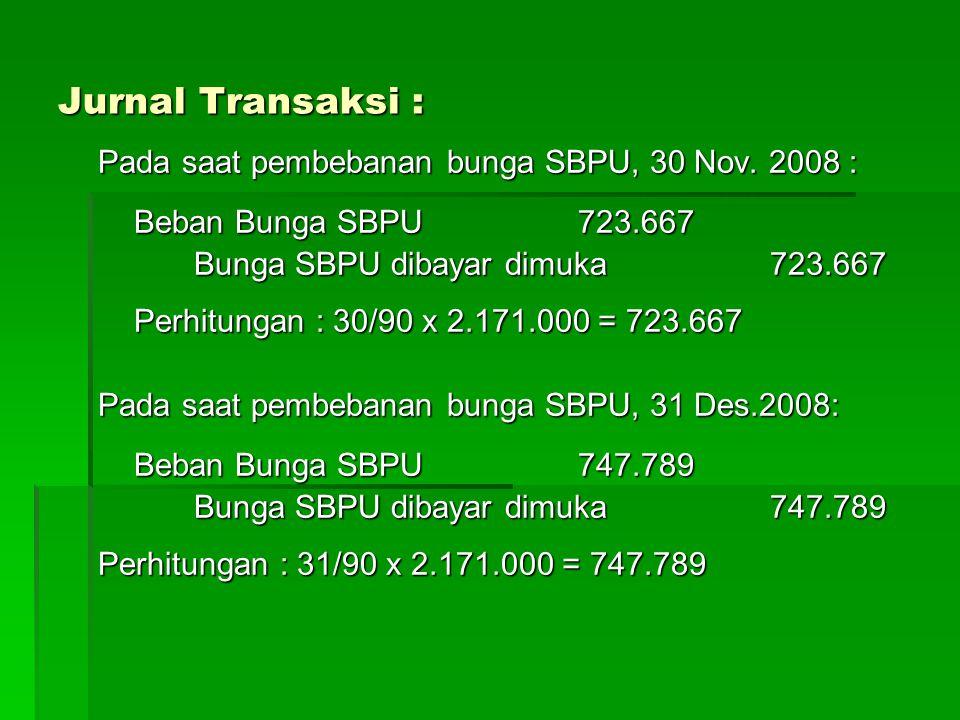 Jurnal Transaksi : Pada saat jatuh tempo SBPU, 10 Januari 2009 : SBPU yang diterbitkan100.000.000 Beban Bunga SBPU 217.100 Giro pada BI100.000.000 Bunga SBPU dibayar dimuka 217.100 Perhitungan : 2.171.000 – (482.444 + 723.667 + 747.789) = 217.100 = 217.100
