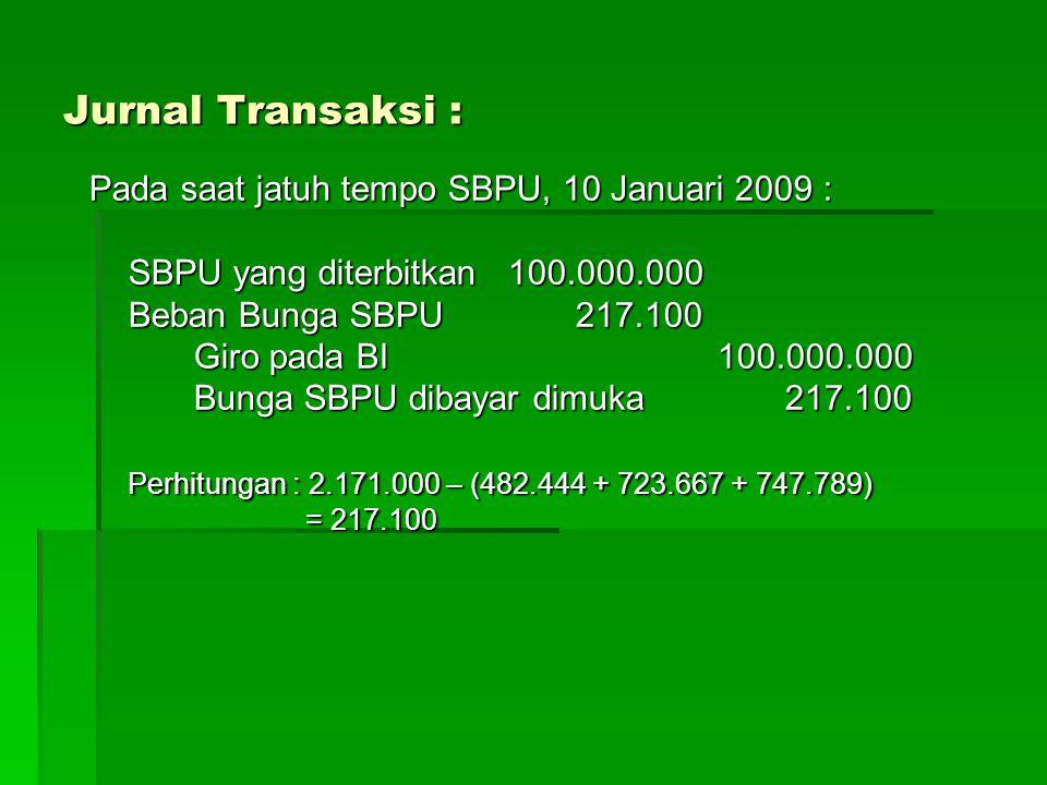 Soal Diskusi : Pada tanggal 4 April 2009, PT Bank Bima menjual SBPU kepada Bank Makmur sebesar Rp.