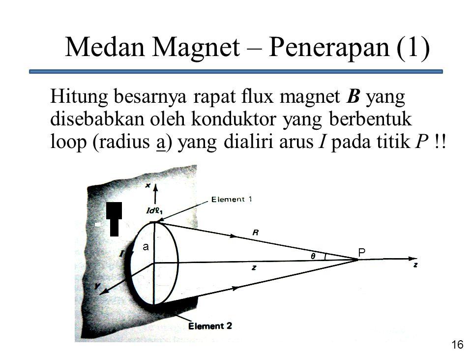 16 Medan Magnet – Penerapan (1) Hitung besarnya rapat flux magnet B yang disebabkan oleh konduktor yang berbentuk loop (radius a) yang dialiri arus I