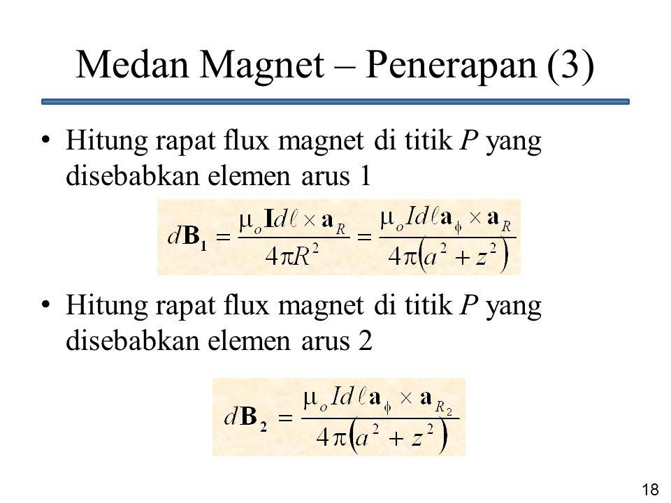 18 Medan Magnet – Penerapan (3) Hitung rapat flux magnet di titik P yang disebabkan elemen arus 1 Hitung rapat flux magnet di titik P yang disebabkan