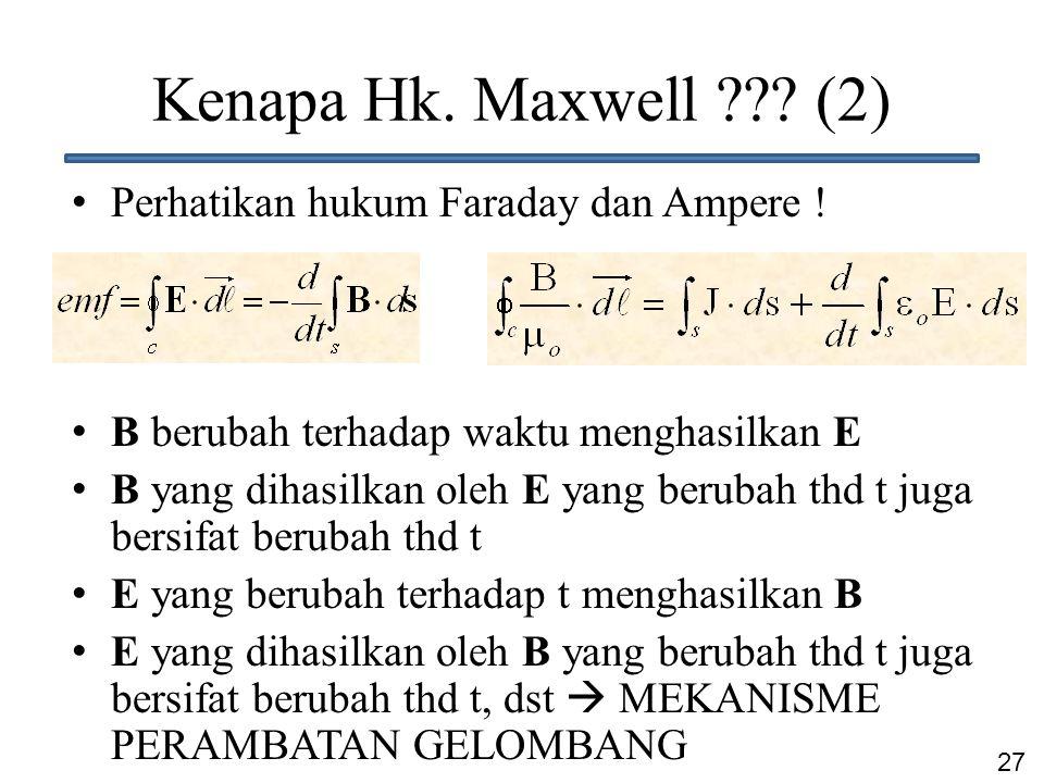 27 Kenapa Hk. Maxwell ??? (2) Perhatikan hukum Faraday dan Ampere ! B berubah terhadap waktu menghasilkan E B yang dihasilkan oleh E yang berubah thd