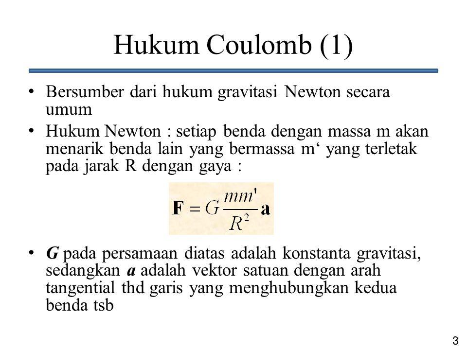 3 Hukum Coulomb (1) Bersumber dari hukum gravitasi Newton secara umum Hukum Newton : setiap benda dengan massa m akan menarik benda lain yang bermassa