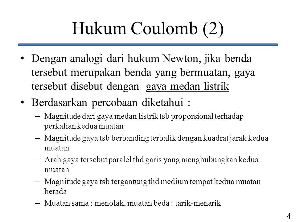 4 Hukum Coulomb (2) Dengan analogi dari hukum Newton, jika benda tersebut merupakan benda yang bermuatan, gaya tersebut disebut dengan gaya medan list