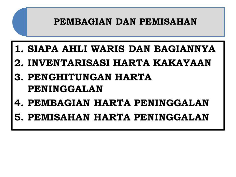 PEMBAGIAN DAN PEMISAHAN 1.SIAPA AHLI WARIS DAN BAGIANNYA 2.INVENTARISASI HARTA KAKAYAAN 3.PENGHITUNGAN HARTA PENINGGALAN 4.PEMBAGIAN HARTA PENINGGALAN 5.PEMISAHAN HARTA PENINGGALAN