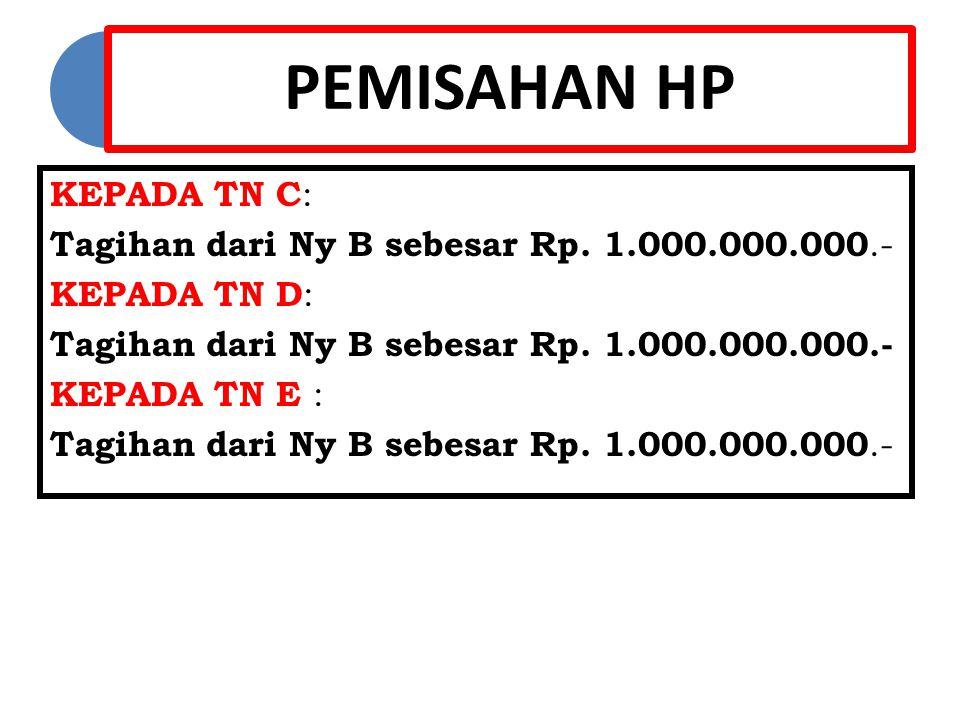 PEMISAHAN HP KEPADA TN C : Tagihan dari Ny B sebesar Rp.