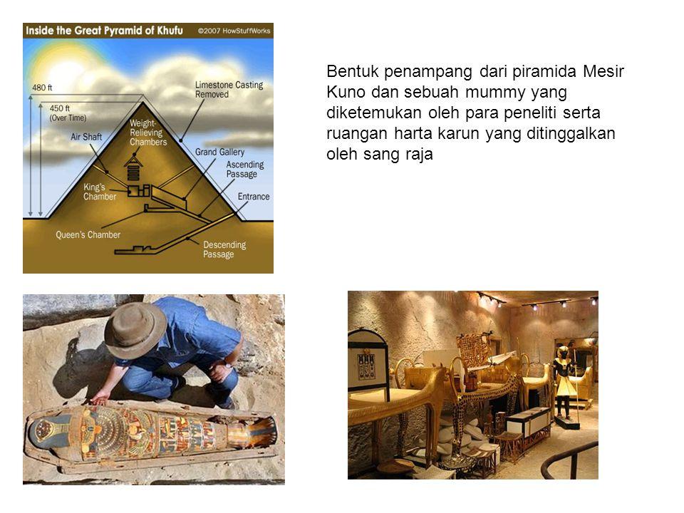 Piramida yang besar adalah Piramida yang dibangun oleh Raja Cheops (Fir'aun Khufu), Raja Cherpen (Fir'aun Khafara) dan Raja My kerinos (Fir'aun Menkere) semuanya pada dinasty Fir'aun ke 4 (2900-2700 SM) Berikut ini adalah contohnya : Piramide peninggalan raja Mykerinos