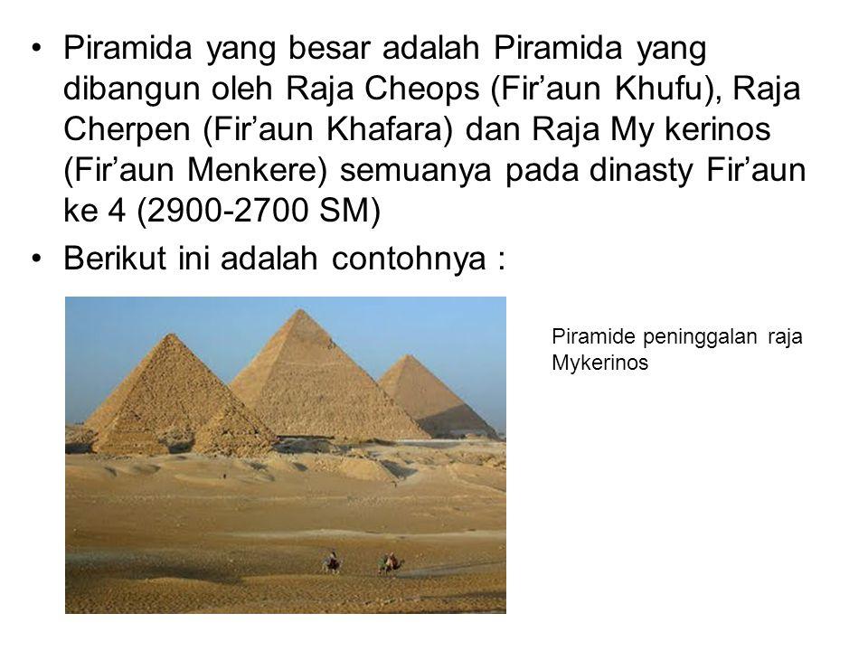 Piramida Khufu merupakan priramida terbesar yang dibuat oleh Raja Fir'aun Khufu (Cheops) Piramida Gisa merupakan Piramida yang didampingi Sphinx di depannya