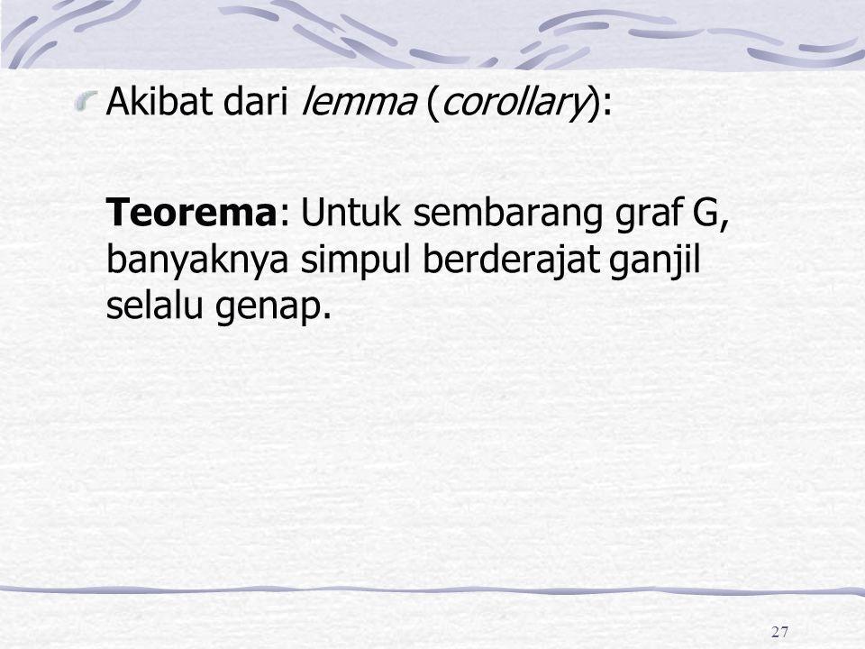 27 Akibat dari lemma (corollary): Teorema: Untuk sembarang graf G, banyaknya simpul berderajat ganjil selalu genap.