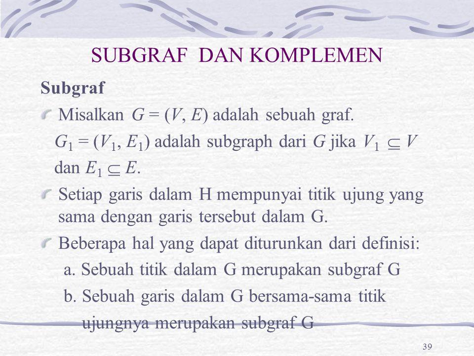 SUBGRAF DAN KOMPLEMEN Subgraf Misalkan G = (V, E) adalah sebuah graf. G 1 = (V 1, E 1 ) adalah subgraph dari G jika V 1  V dan E 1  E. Setiap garis