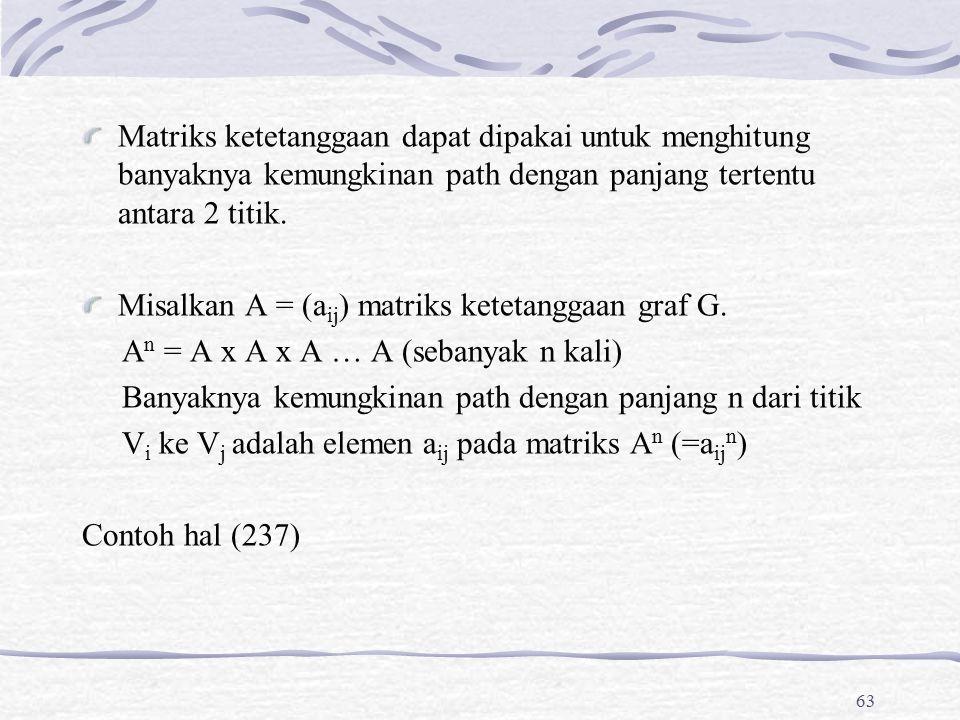 Matriks ketetanggaan dapat dipakai untuk menghitung banyaknya kemungkinan path dengan panjang tertentu antara 2 titik. Misalkan A = (a ij ) matriks ke