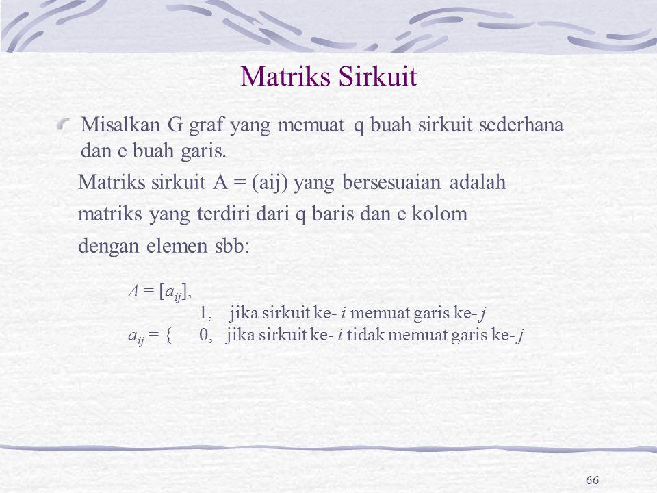 Matriks Sirkuit Misalkan G graf yang memuat q buah sirkuit sederhana dan e buah garis. Matriks sirkuit A = (aij) yang bersesuaian adalah matriks yang