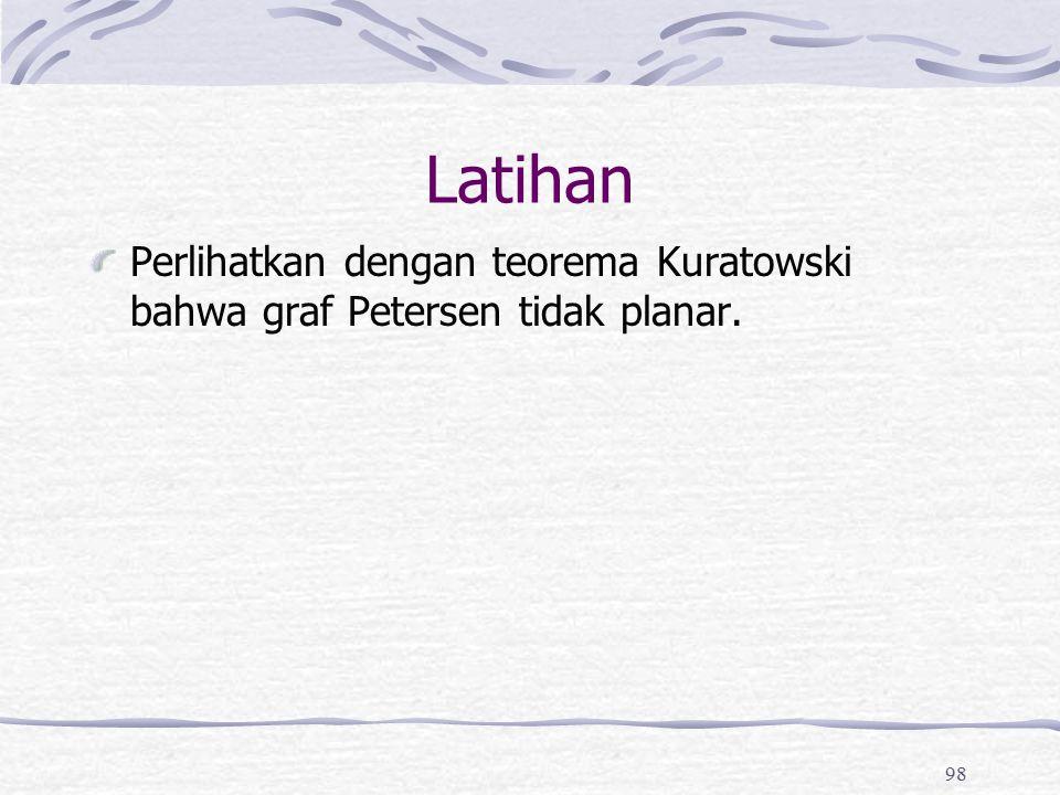 98 Latihan Perlihatkan dengan teorema Kuratowski bahwa graf Petersen tidak planar.