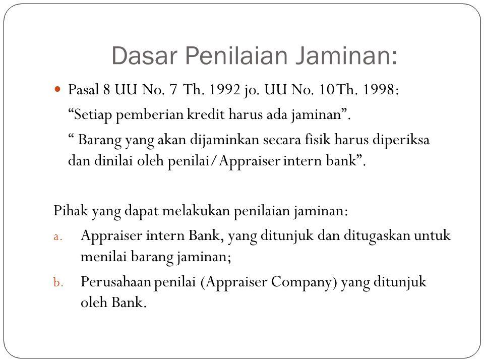 "Dasar Penilaian Jaminan: Pasal 8 UU No. 7 Th. 1992 jo. UU No. 10 Th. 1998: ""Setiap pemberian kredit harus ada jaminan"". "" Barang yang akan dijaminkan"