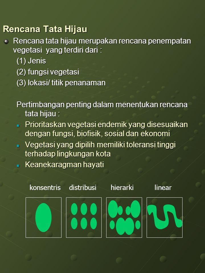 Rencana Tata Hijau Rencana tata hijau merupakan rencana penempatan vegetasi yang terdiri dari : (1) Jenis (2) fungsi vegetasi (3) lokasi/ titik penana