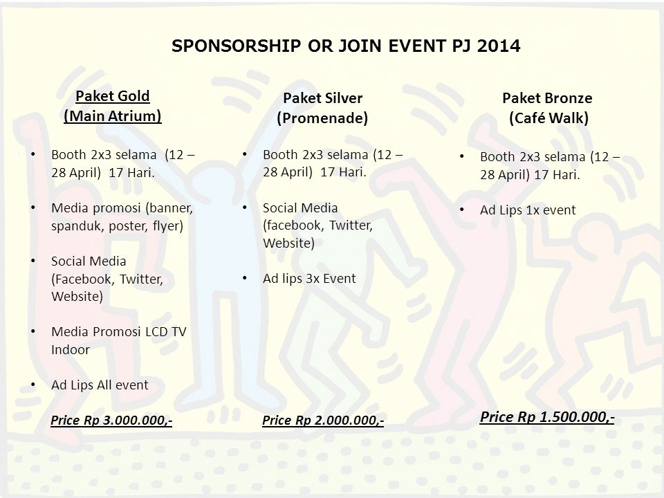 SPONSORSHIP OR JOIN EVENT PJ 2014 Paket Gold (Main Atrium) Booth 2x3 selama (12 – 28 April) 17 Hari.