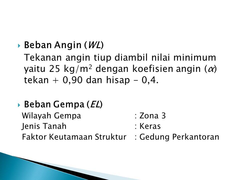  Beban Angin (WL) Tekanan angin tiup diambil nilai minimum yaitu 25 kg/m 2 dengan koefisien angin (α) tekan + 0,90 dan hisap - 0,4.  Beban Gempa (EL
