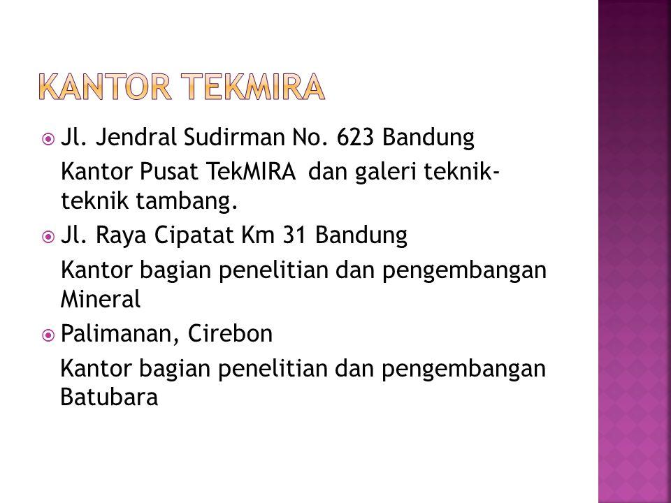  Jl. Jendral Sudirman No. 623 Bandung Kantor Pusat TekMIRA dan galeri teknik- teknik tambang.  Jl. Raya Cipatat Km 31 Bandung Kantor bagian peneliti
