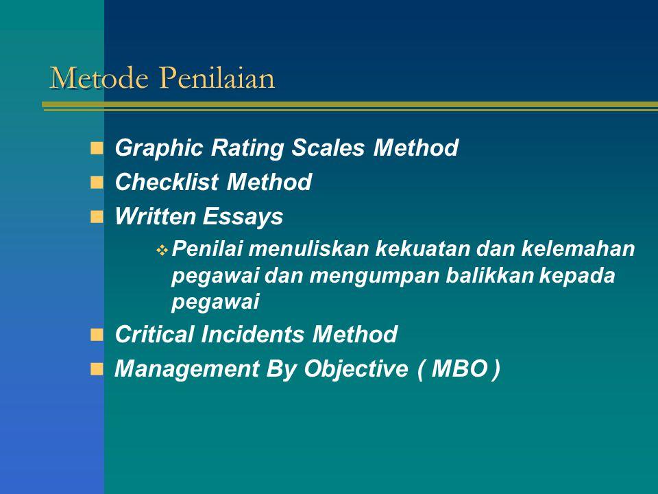 Metode Penilaian Graphic Rating Scales Method Checklist Method Written Essays  Penilai menuliskan kekuatan dan kelemahan pegawai dan mengumpan balikk