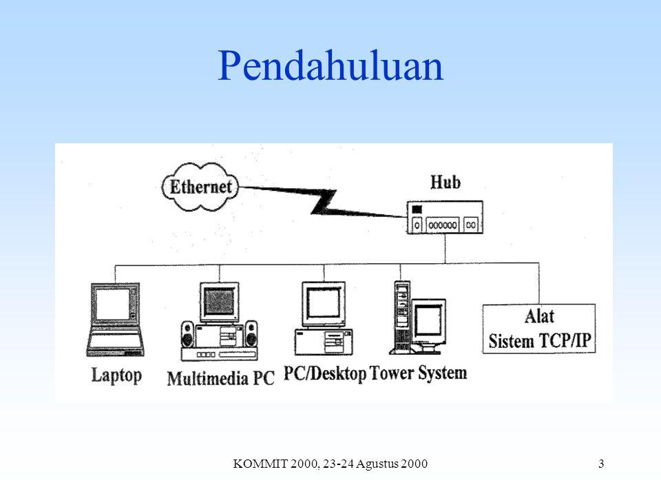 KOMMIT 2000, 23-24 Agustus 20004 Data teknis CS8900A Single-chip IEEE 802.3 Ethernet Controller dengan ISA-Bus Interface Beroperasi dengan arsitektur PacketPage TM untuk mode I/O, memory, dan DMA slave Full duplex On-chip ram untuk transmit-receive frame 10BASE-T port dengan analog filter yang dapat mendeteksi polaritas secara otomatis EEPROM untuk konfigurasi jumperless Boot PROM untuk sistem tanpa disk Boundary Scan and Loopback test LED untuk indikator LINK dan LAN Mode standby dan sleep